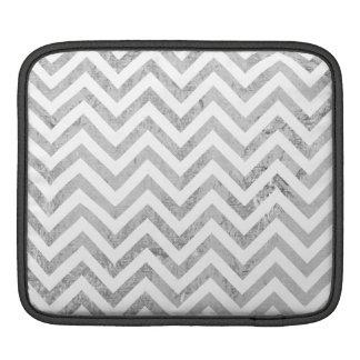 Elegant Silver Foil Zigzag Stripes Chevron Pattern iPad Sleeve