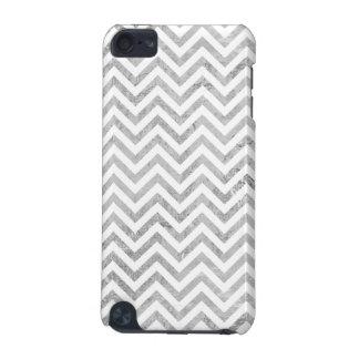 Elegant Silver Foil Zigzag Stripes Chevron Pattern iPod Touch 5G Cover
