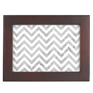 Elegant Silver Foil Zigzag Stripes Chevron Pattern Keepsake Box
