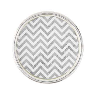 Elegant Silver Foil Zigzag Stripes Chevron Pattern Lapel Pin