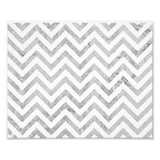 Elegant Silver Foil Zigzag Stripes Chevron Pattern Photo Print