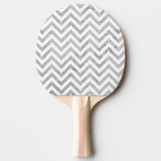 Elegant Silver Foil Zigzag Stripes Chevron Pattern Ping Pong Paddle