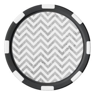 Elegant Silver Foil Zigzag Stripes Chevron Pattern Poker Chips