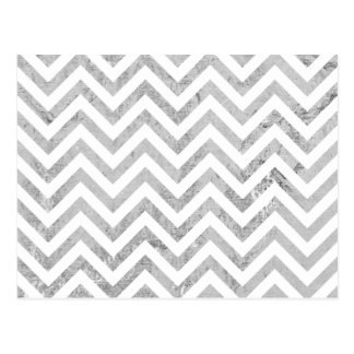 Elegant Silver Foil Zigzag Stripes Chevron Pattern Postcard