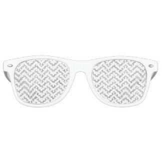 Elegant Silver Foil Zigzag Stripes Chevron Pattern Retro Sunglasses