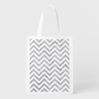Elegant Silver Foil Zigzag Stripes Chevron Pattern Reusable Grocery Bag