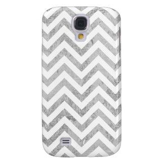 Elegant Silver Foil Zigzag Stripes Chevron Pattern Samsung Galaxy S4 Cover