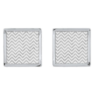 Elegant Silver Foil Zigzag Stripes Chevron Pattern Silver Finish Cufflinks