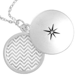 Elegant Silver Foil Zigzag Stripes Chevron Pattern Silver Plated Necklace