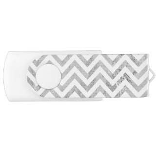 Elegant Silver Foil Zigzag Stripes Chevron Pattern USB Flash Drive