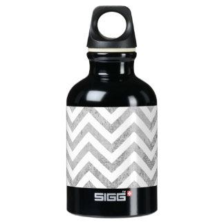 Elegant Silver Foil Zigzag Stripes Chevron Pattern Water Bottle