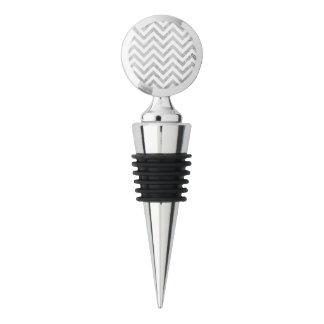 Elegant Silver Foil Zigzag Stripes Chevron Pattern Wine Stopper