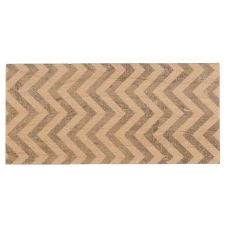 Elegant Silver Foil Zigzag Stripes Chevron Pattern Wood USB Flash Drive