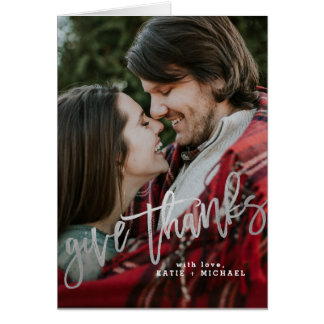 Elegant Silver Give Thanks Card