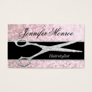 Elegant Silver Glam Hairstylist Appointment Business Card