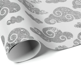 Elegant Silver Glitter Clouds Steel Metallic Wrapping Paper