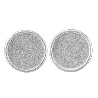 Elegant Silver Glitter Cufflinks