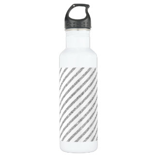 Elegant Silver Glitter Diagonal Stripes Pattern 710 Ml Water Bottle