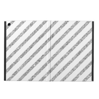 Elegant Silver Glitter Diagonal Stripes Pattern Cover For iPad Air