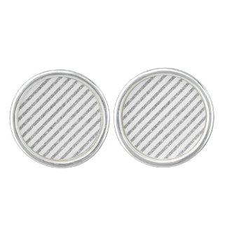 Elegant Silver Glitter Diagonal Stripes Pattern Cuff Links