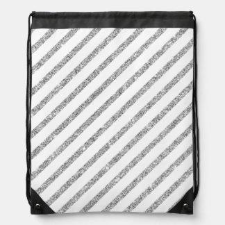 Elegant Silver Glitter Diagonal Stripes Pattern Drawstring Bag
