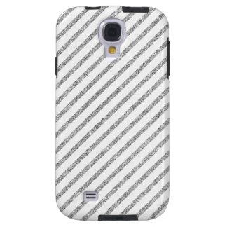 Elegant Silver Glitter Diagonal Stripes Pattern Galaxy S4 Case
