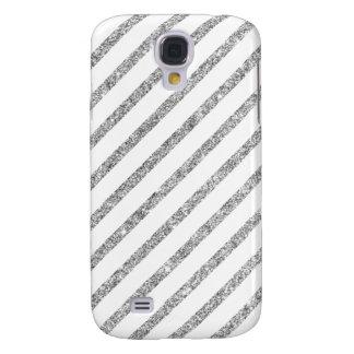 Elegant Silver Glitter Diagonal Stripes Pattern Galaxy S4 Cover