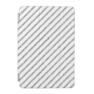 Elegant Silver Glitter Diagonal Stripes Pattern iPad Mini Cover