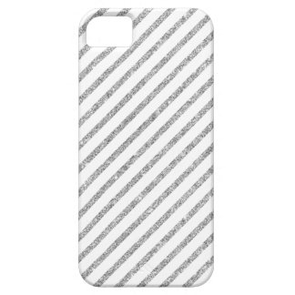 Elegant Silver Glitter Diagonal Stripes Pattern iPhone 5 Case