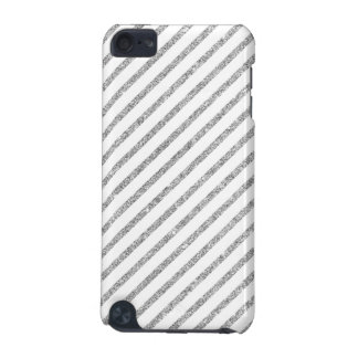 Elegant Silver Glitter Diagonal Stripes Pattern iPod Touch 5G Cover