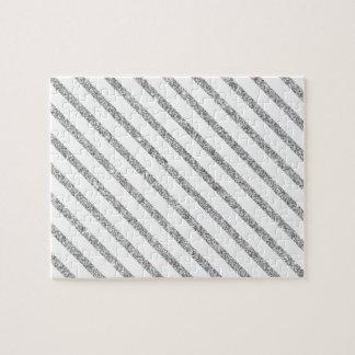 Elegant Silver Glitter Diagonal Stripes Pattern Jigsaw Puzzle