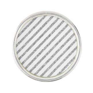 Elegant Silver Glitter Diagonal Stripes Pattern Lapel Pin