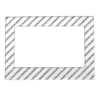 Elegant Silver Glitter Diagonal Stripes Pattern Magnetic Picture Frame