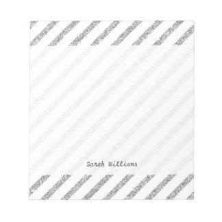 Elegant Silver Glitter Diagonal Stripes Pattern Notepad