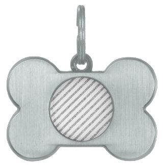 Elegant Silver Glitter Diagonal Stripes Pattern Pet Tag