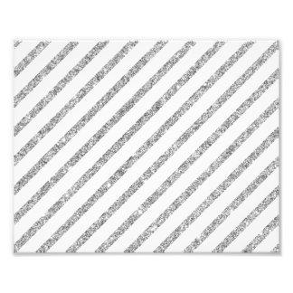 Elegant Silver Glitter Diagonal Stripes Pattern Photo Print