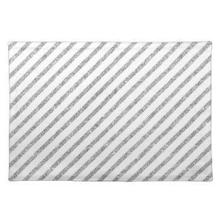 Elegant Silver Glitter Diagonal Stripes Pattern Placemat