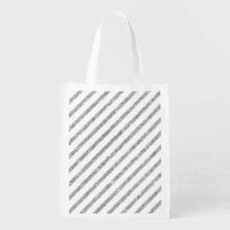 Elegant Silver Glitter Diagonal Stripes Pattern Reusable Grocery Bag