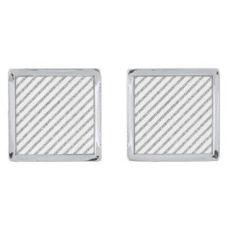 Elegant Silver Glitter Diagonal Stripes Pattern Silver Finish Cuff Links