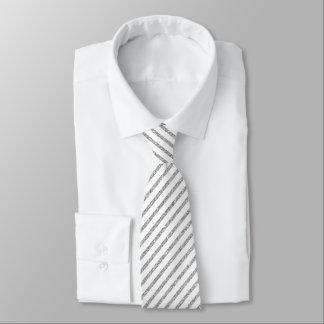 Elegant Silver Glitter Diagonal Stripes Pattern Tie