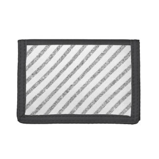 Elegant Silver Glitter Diagonal Stripes Pattern Trifold Wallet