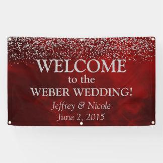 Elegant Silver Glitter on Red Wedding Banner