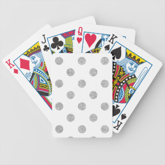Elegant Silver Glitter Polka Dots Pattern Bicycle Playing Cards