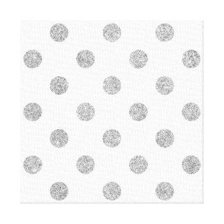Elegant Silver Glitter Polka Dots Pattern Canvas Print