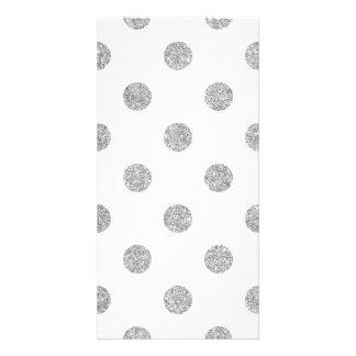 Elegant Silver Glitter Polka Dots Pattern Card