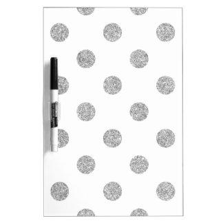 Elegant Silver Glitter Polka Dots Pattern Dry Erase Board