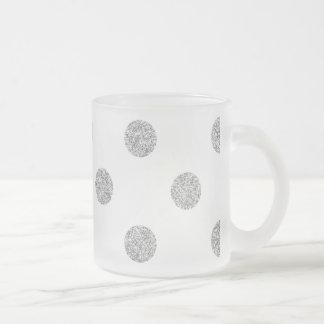 Elegant Silver Glitter Polka Dots Pattern Frosted Glass Coffee Mug