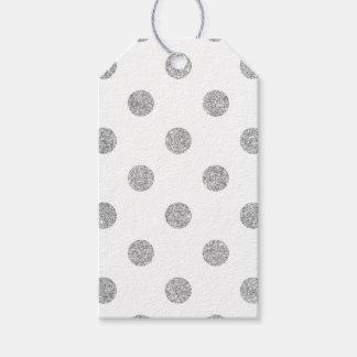Elegant Silver Glitter Polka Dots Pattern Gift Tags
