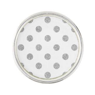 Elegant Silver Glitter Polka Dots Pattern Lapel Pin