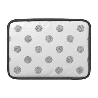 Elegant Silver Glitter Polka Dots Pattern MacBook Sleeve